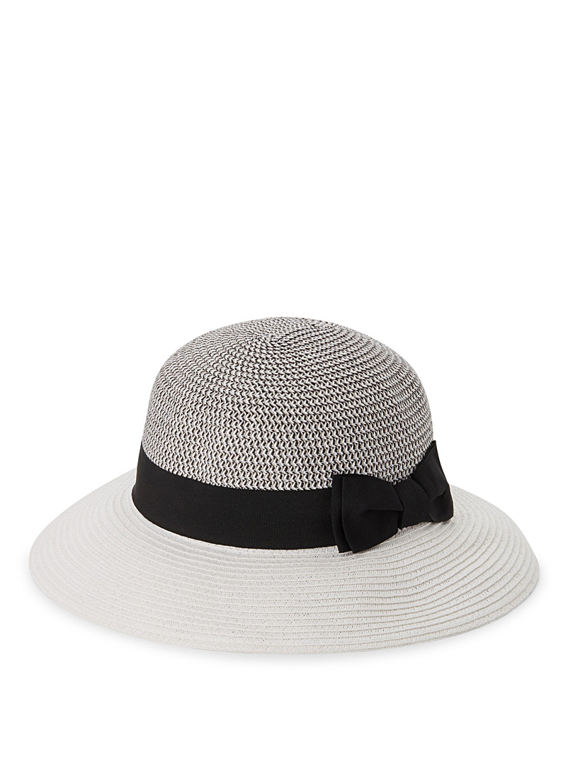 Colour block straw cloche - Hats - Patterned White