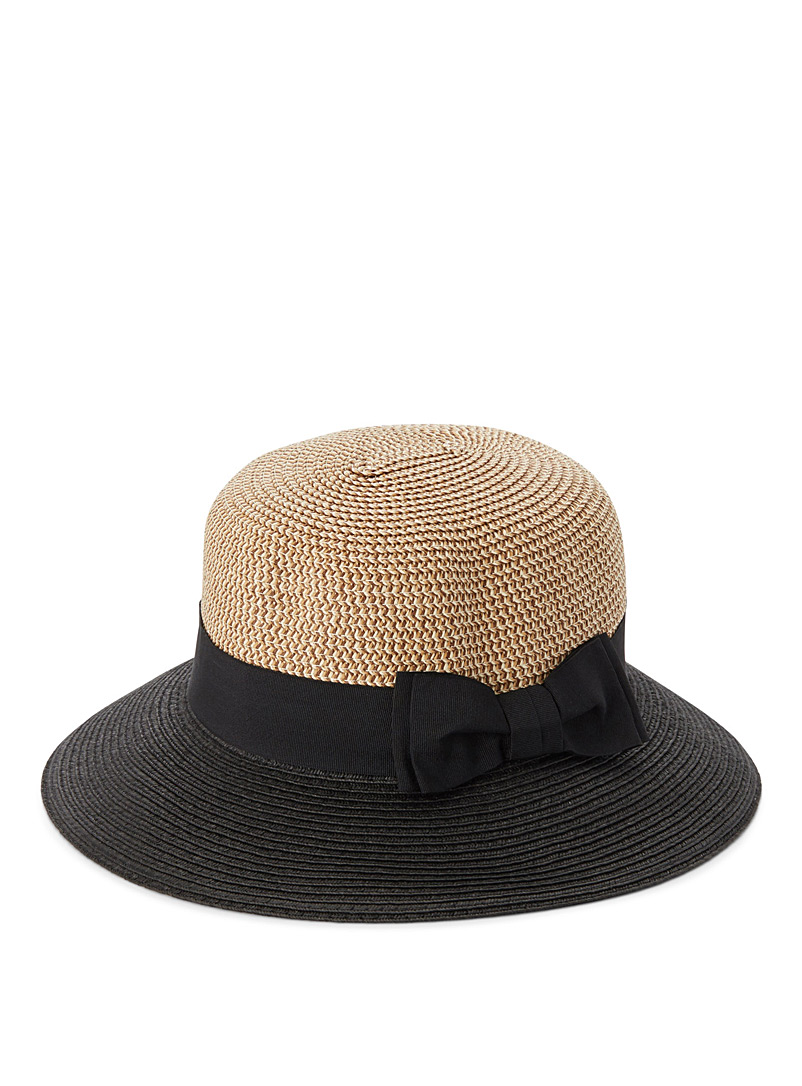 Colour block straw cloche - Hats - Patterned Black