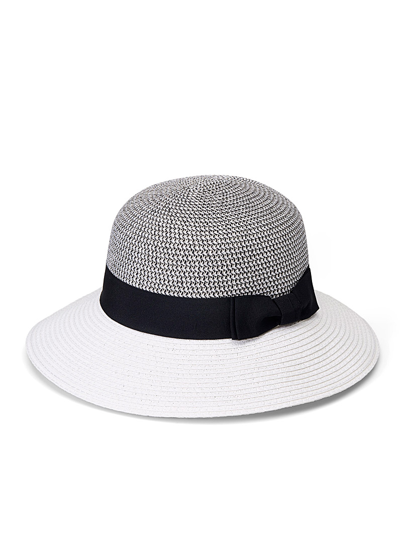 Parkhurst Patterned White Two-tone cloche hat for women