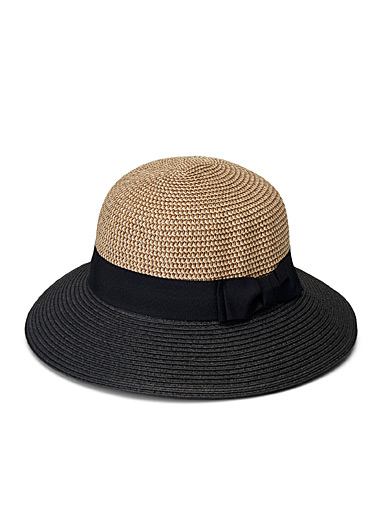 Parkhurst Patterned Black Two-tone cloche hat for women