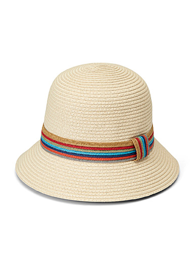 Parkhurst Cream Beige Multicolour trim cloche hat for women