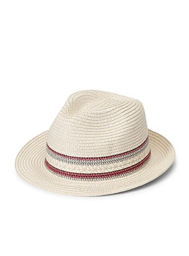 Parkhurst Cream Beige Braided straw fedora for women
