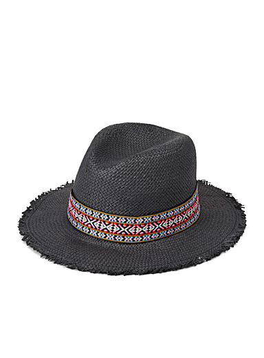 Woven trimmed Panama hat