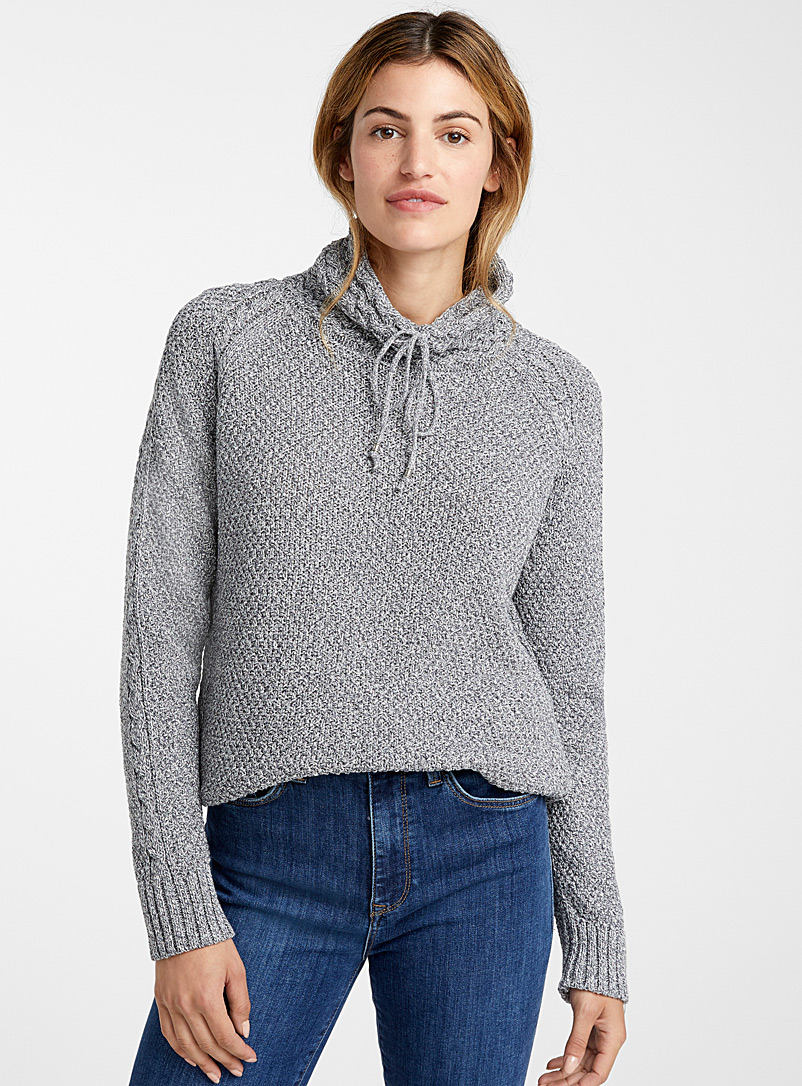 Mixed texture high neck sweater - Sweaters - Grey