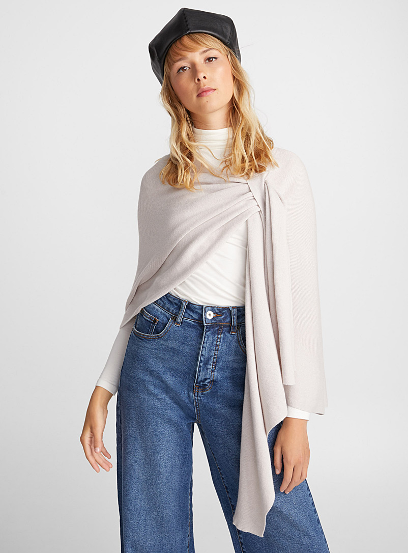 Finely knit draped shawl - Capes & Ponchos - Cream Beige