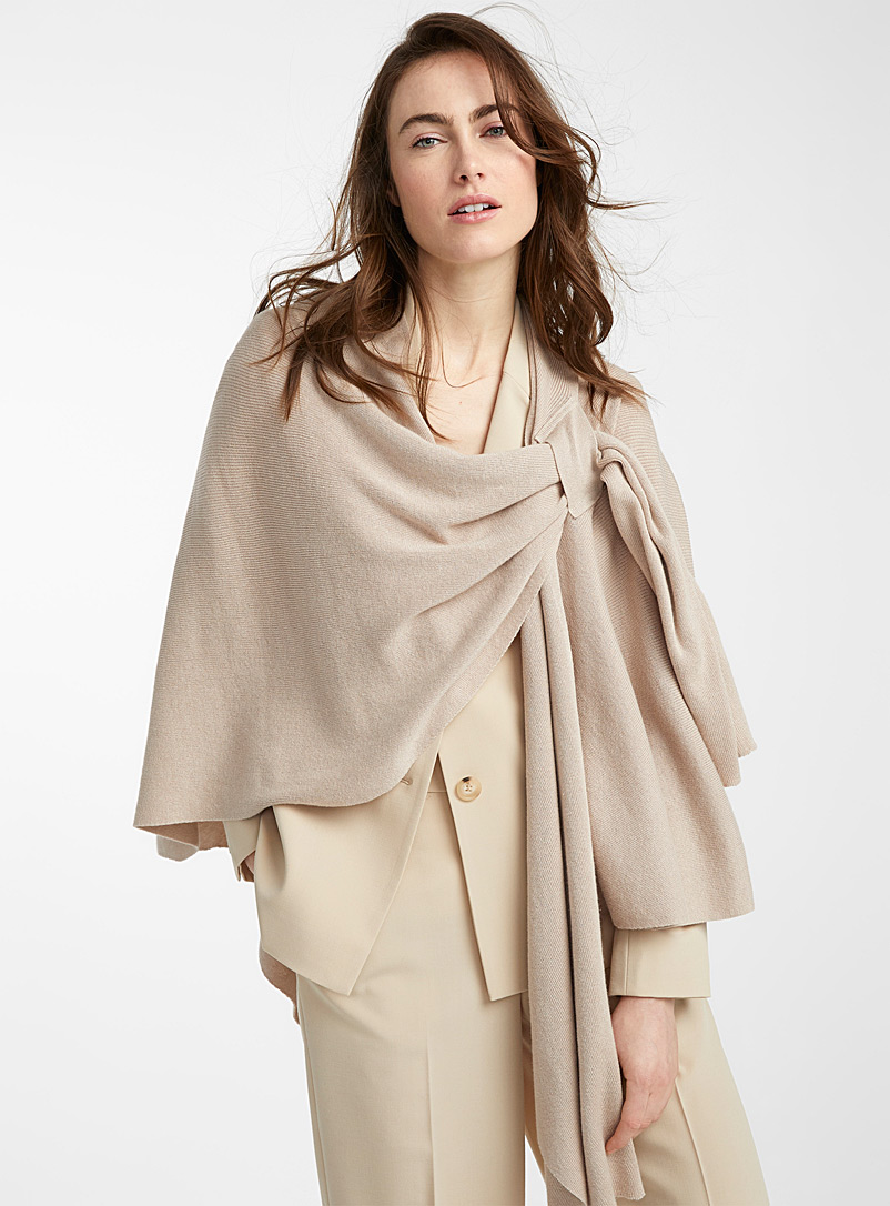 Parkhurst Light Brown Finely knit draped shawl for women