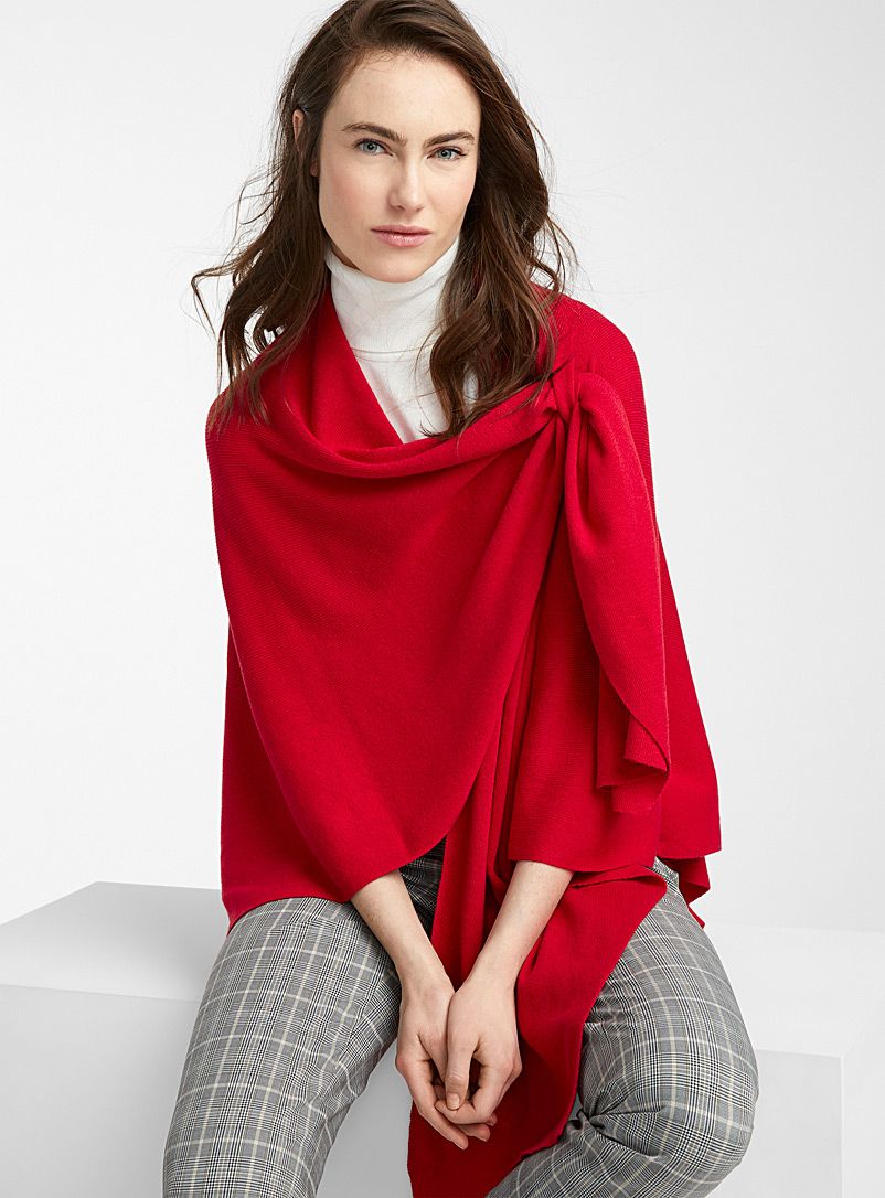 Parkhurst Cherry Red Finely knit draped shawl for women