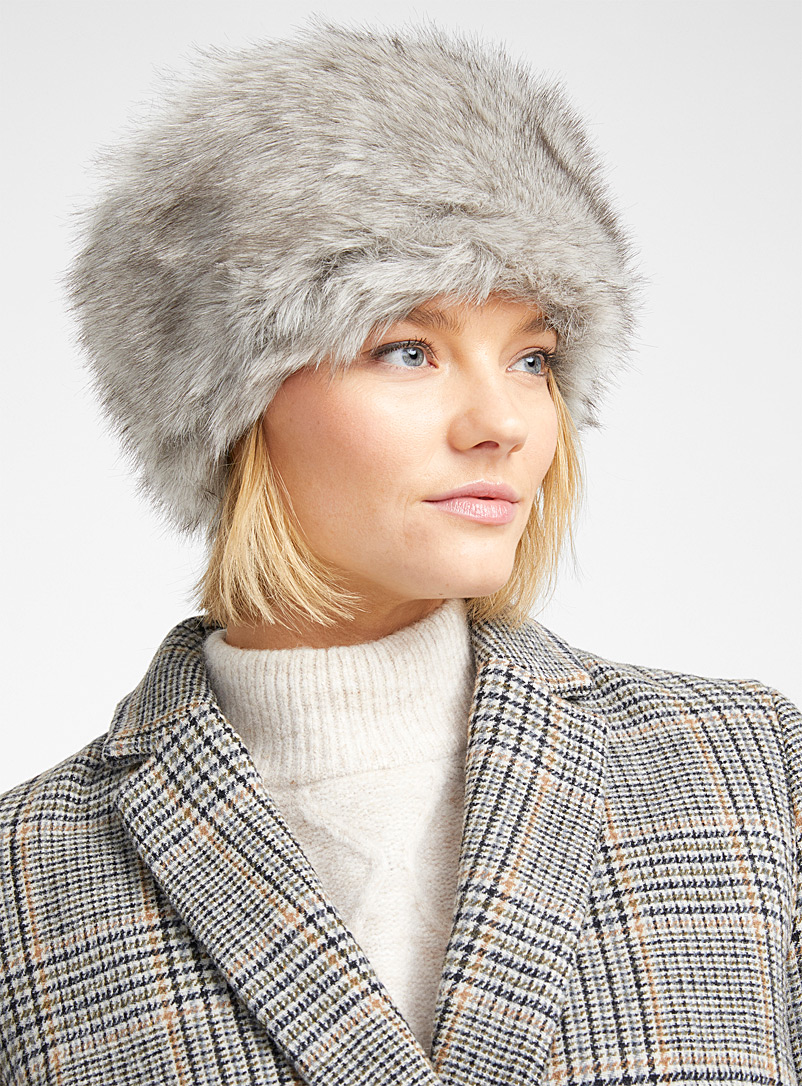 Faux-fur pillbox hat