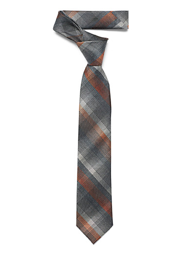 Orange accent plaid tie