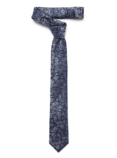 Blue floral tapestry tie