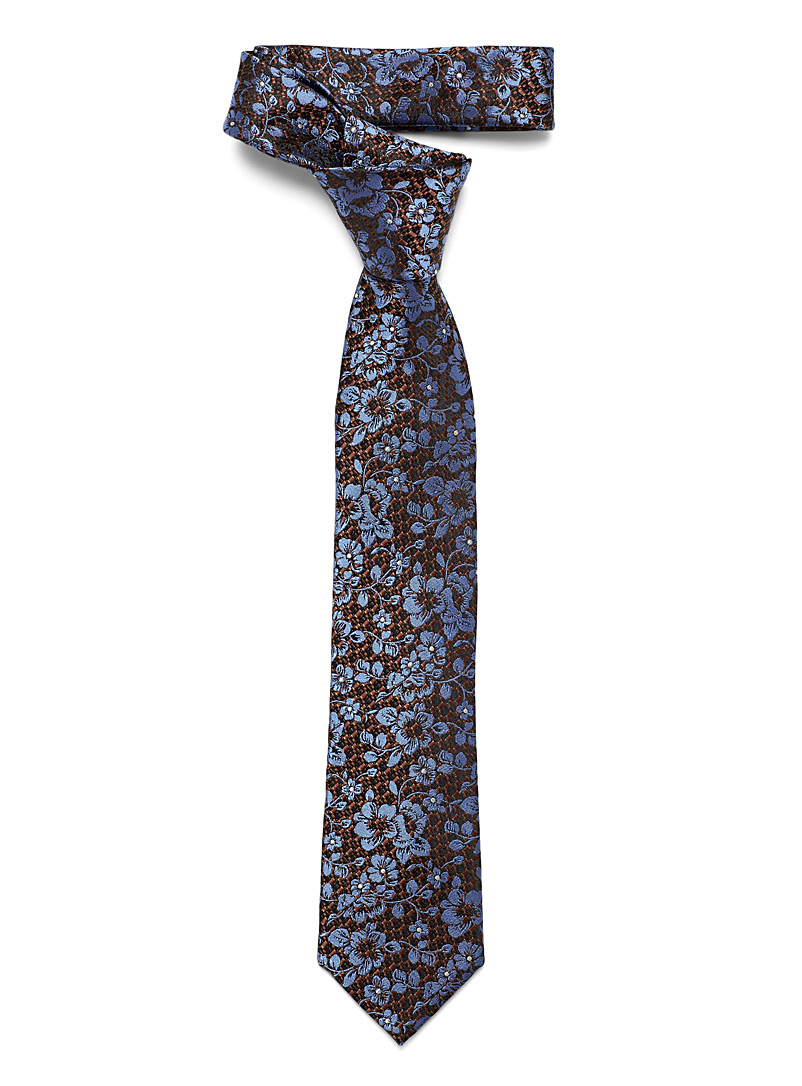 Le 31 Patterned Brown Blue hibiscus tie for men