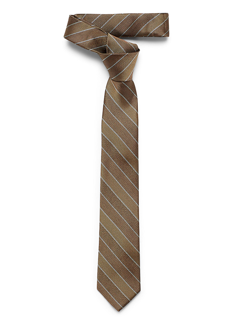 Le 31 Light Brown Micro-check stripe tie for men