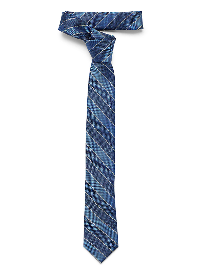 Le 31 Blue Micro-check stripe tie for men
