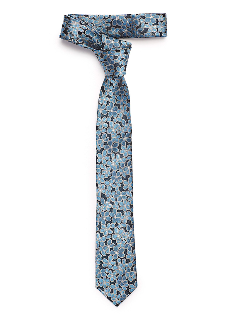 Le 31 Blue Contrast sketched flowers tie for men