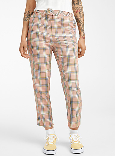 Twik Dusky Pink Straight check pant for women