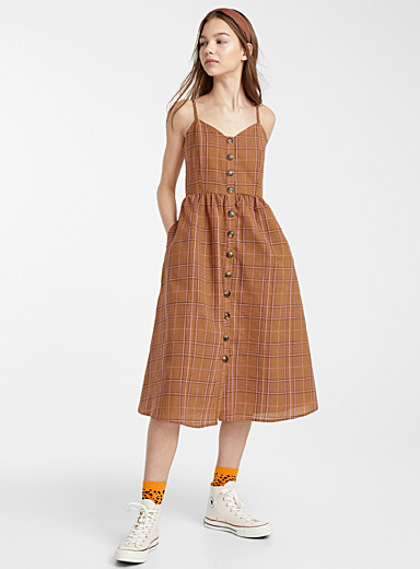 Pink check peasant dress