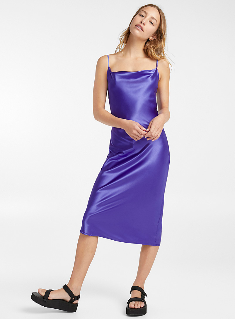 Satiny draped dress - Bodycon - Blue