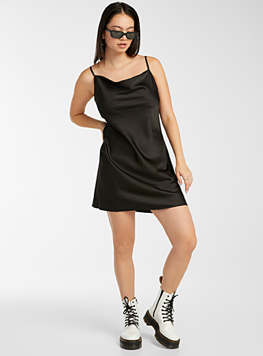 Twik Black Satiny draped-neck dress for women