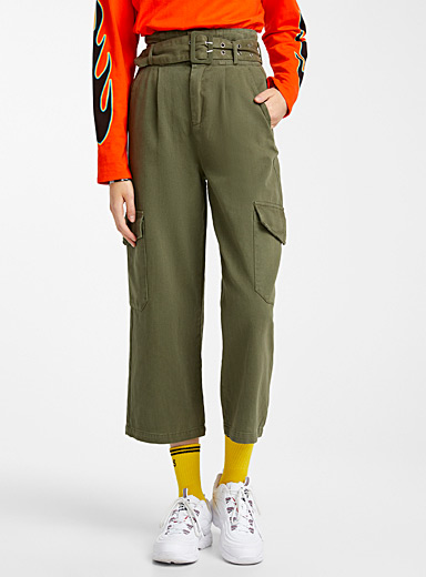 Belted wide-leg cargo pant