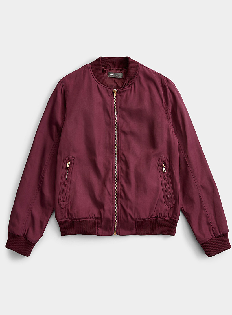Twik Cherry Red Shiny bomber jacket for women