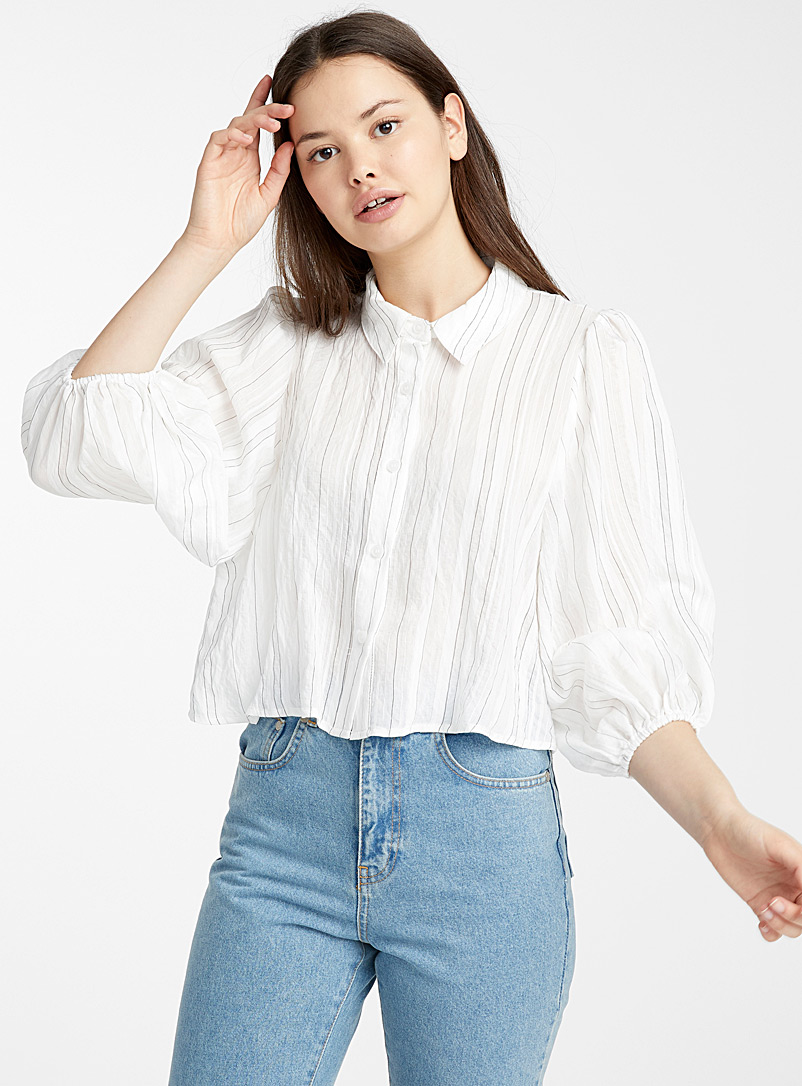 Oversized sleeve striped shirt - Shirts - White
