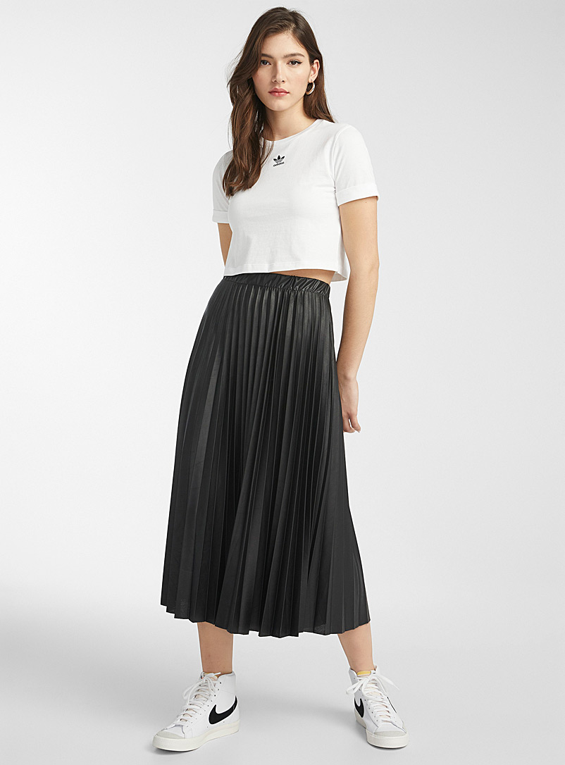 Twik Black Faux-leather pleated skirt for women