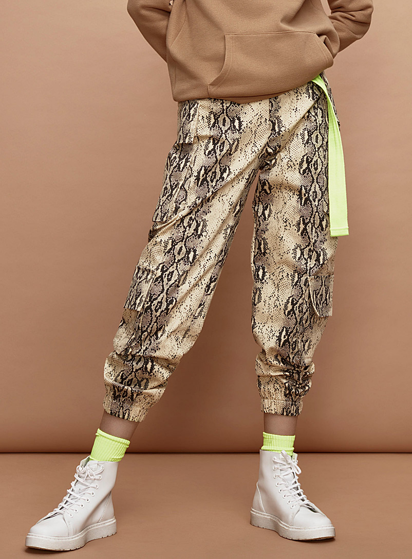 Snakeskin cargo joggers - Joggers - Patterned Brown