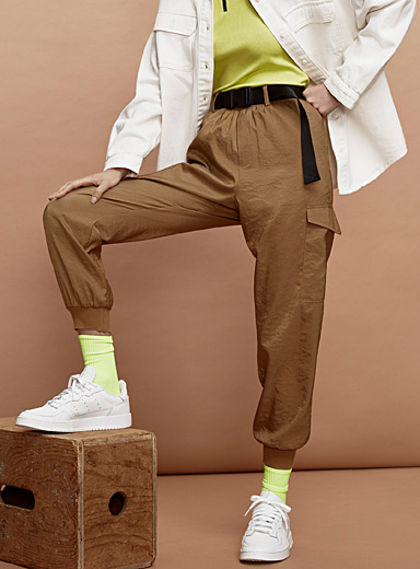Twik Fawn Desert cargo joggers for women