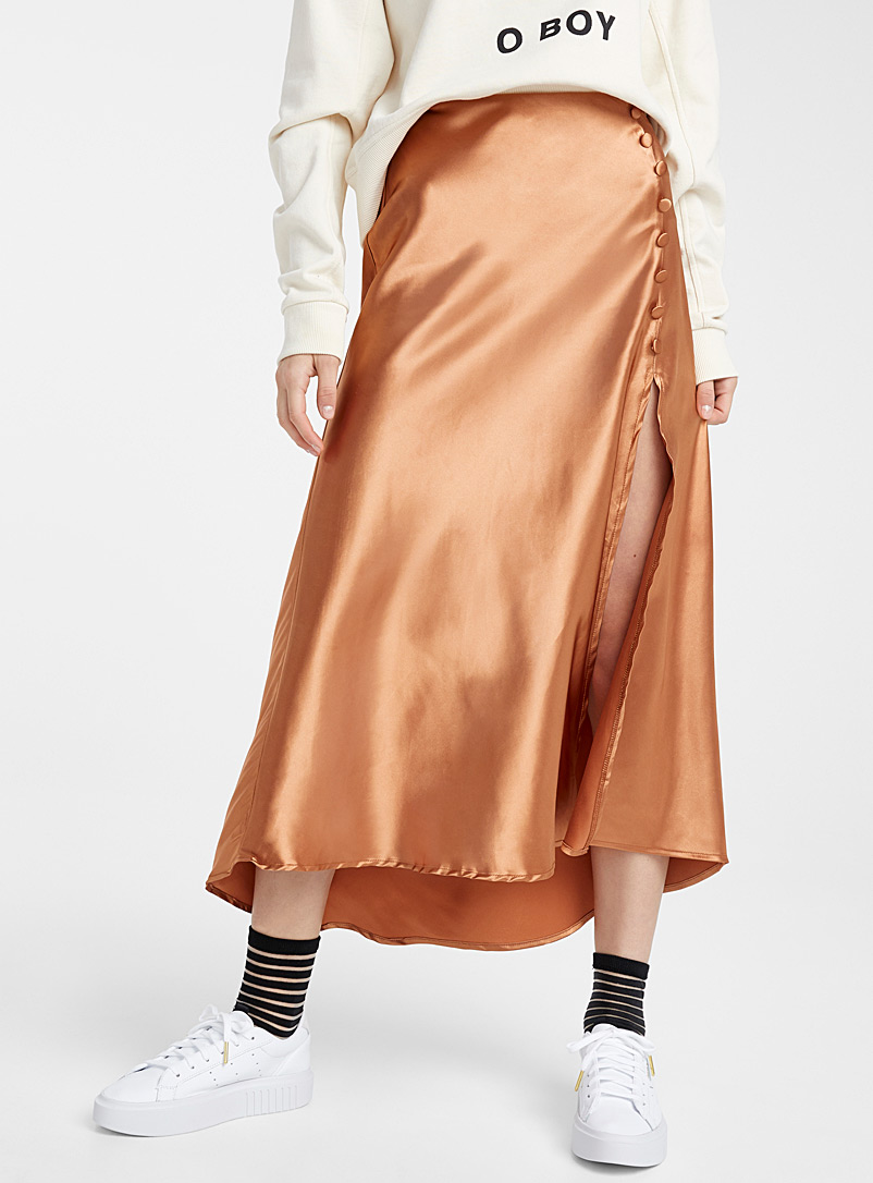 Twik Dark Brown Buttoned satiny skirt for women