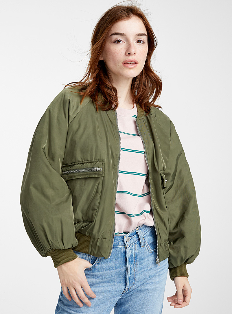 Twik Khaki Utility boyfriend bomber jacket for women