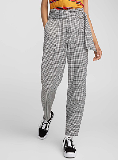 Houndstooth high-rise pant