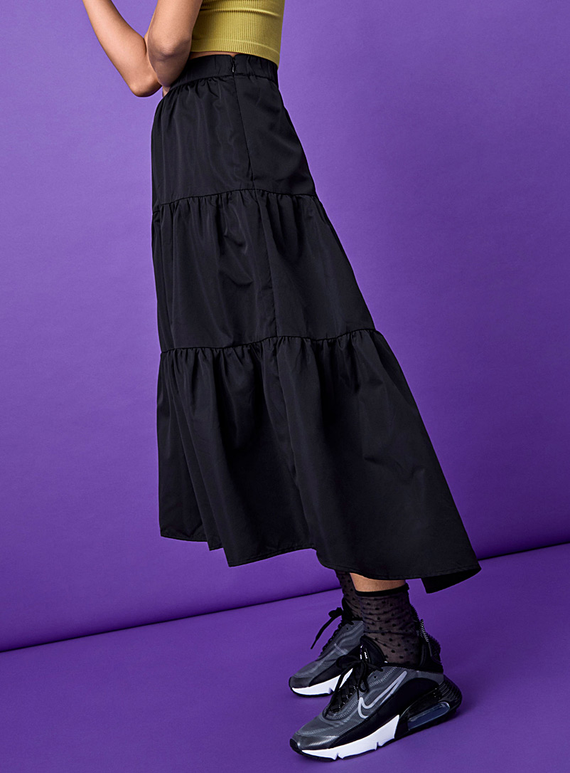 Twik Black Utility fabric midi skirt for women