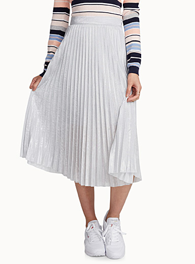 Silver pleat skirt