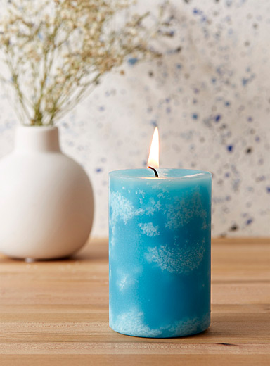 Simons Maison Teal Summer sky pillar candle