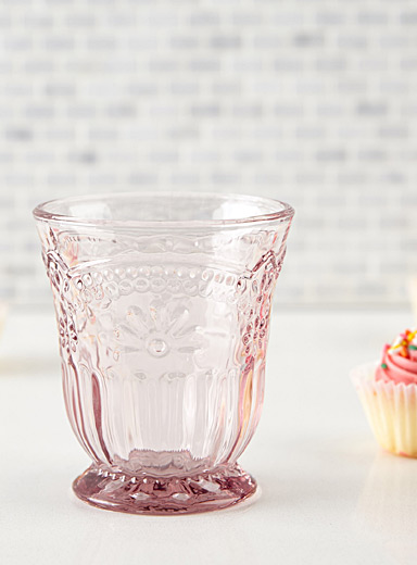 Pink floral glass