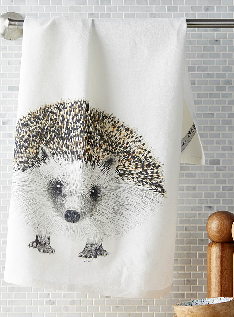Simons Maison Patterned White Little hedgehog tea towel