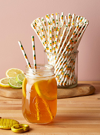 Pineapple cocktail biodegradable straws <br>Set of 100