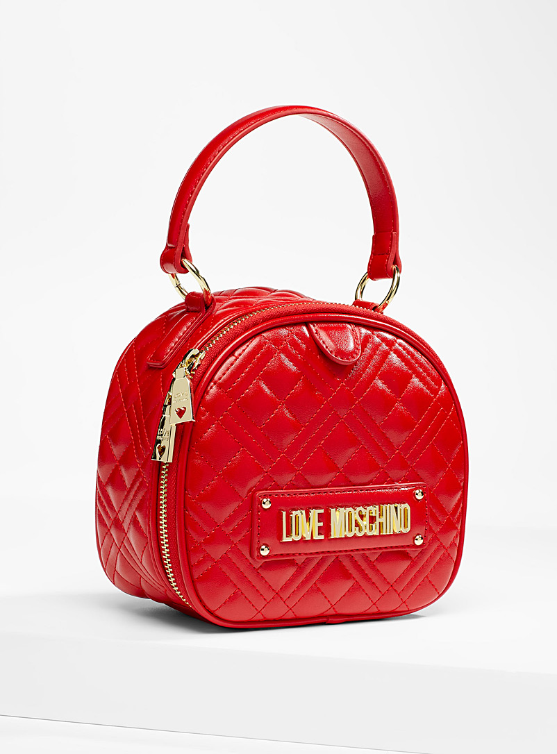 Love Moschino Red Signature quilted shoulder bag for women
