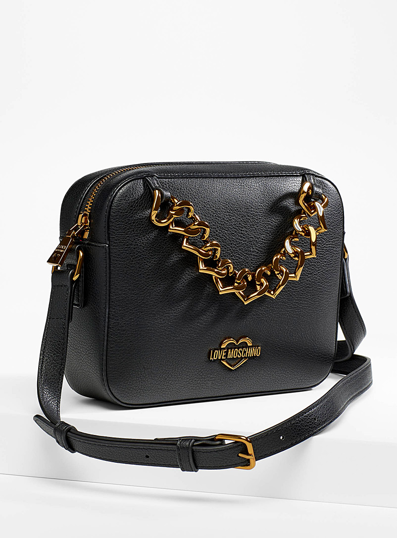 Love Moschino Black Heart chain shoulder bag for women