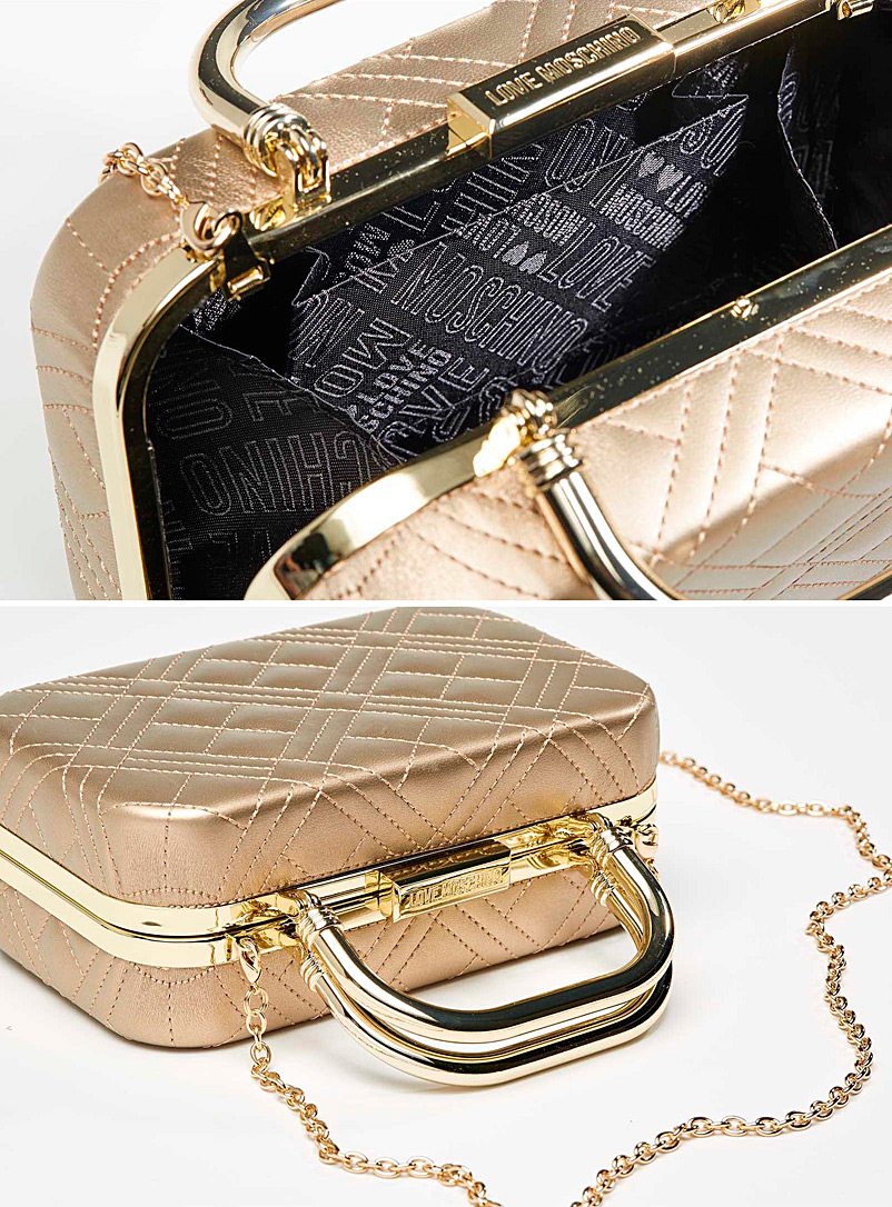 Love Moschino LIght beige  Quilted minaudière for women