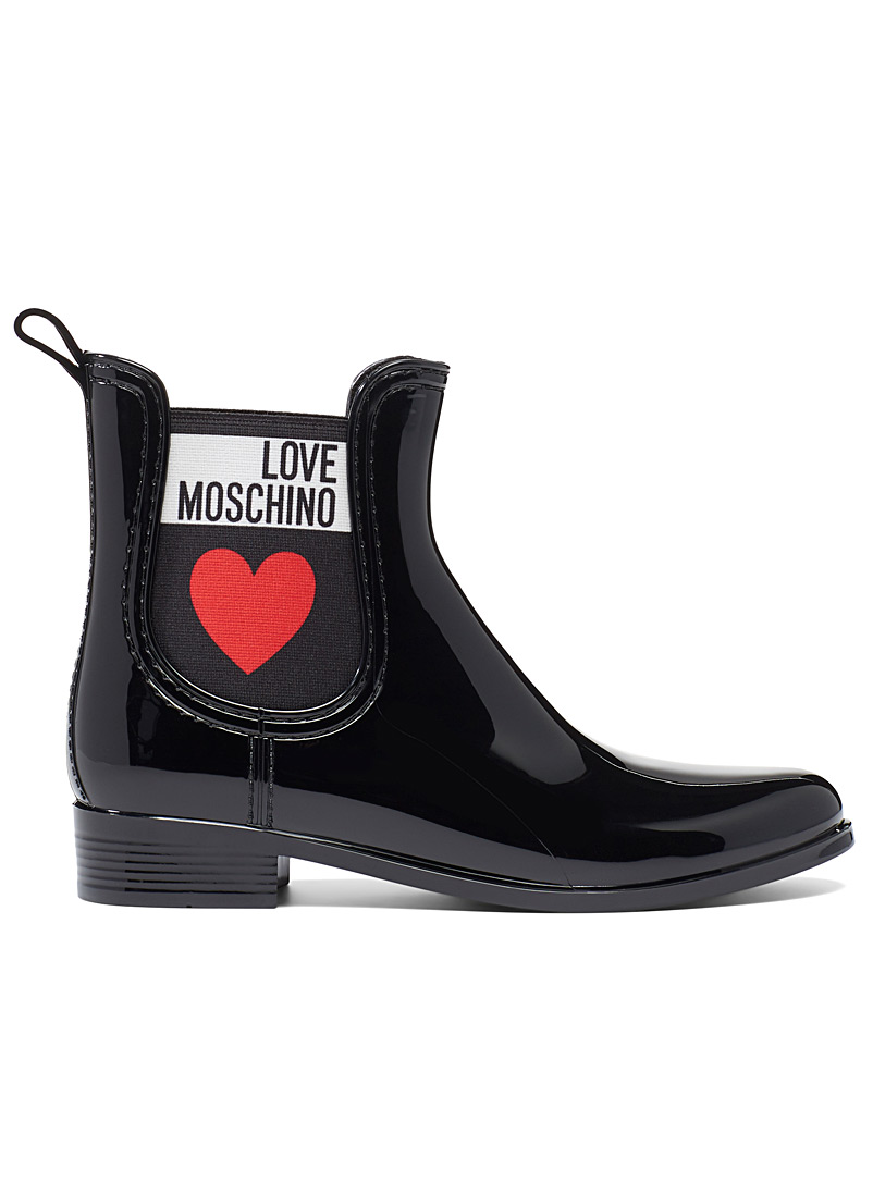 Love Moschino Black Signature elastic rain boots for women