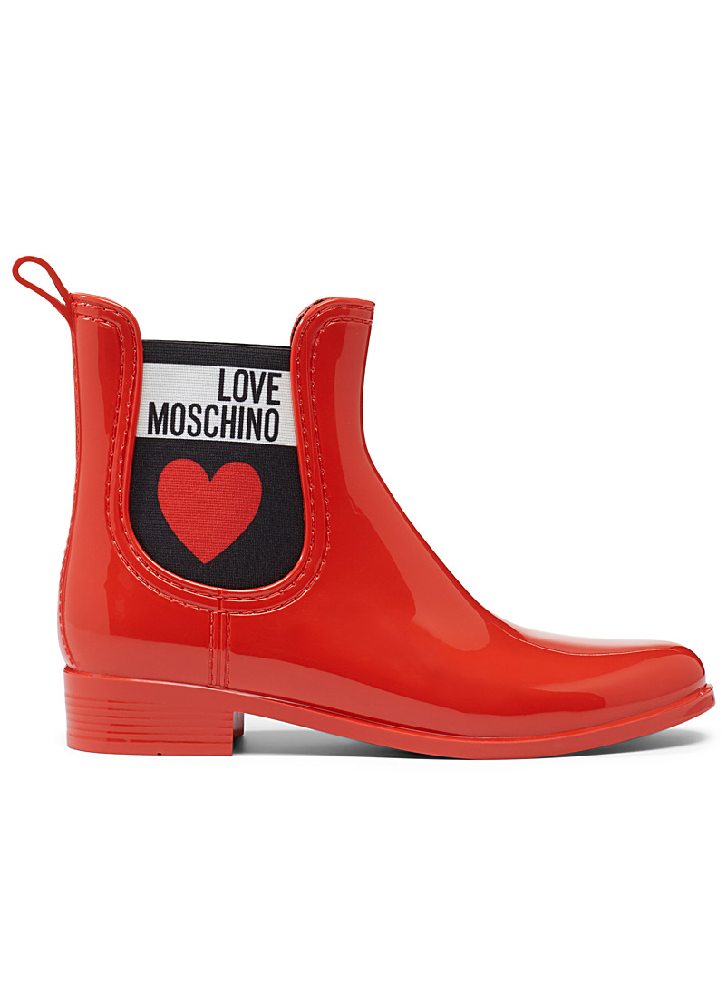 Love Moschino Red Signature elastic rain boots for women