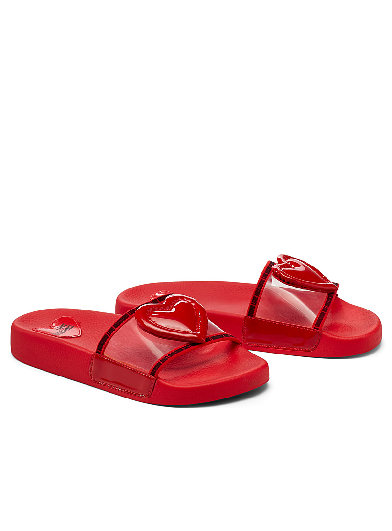 Love Moschino Red Quilted heart slides for women