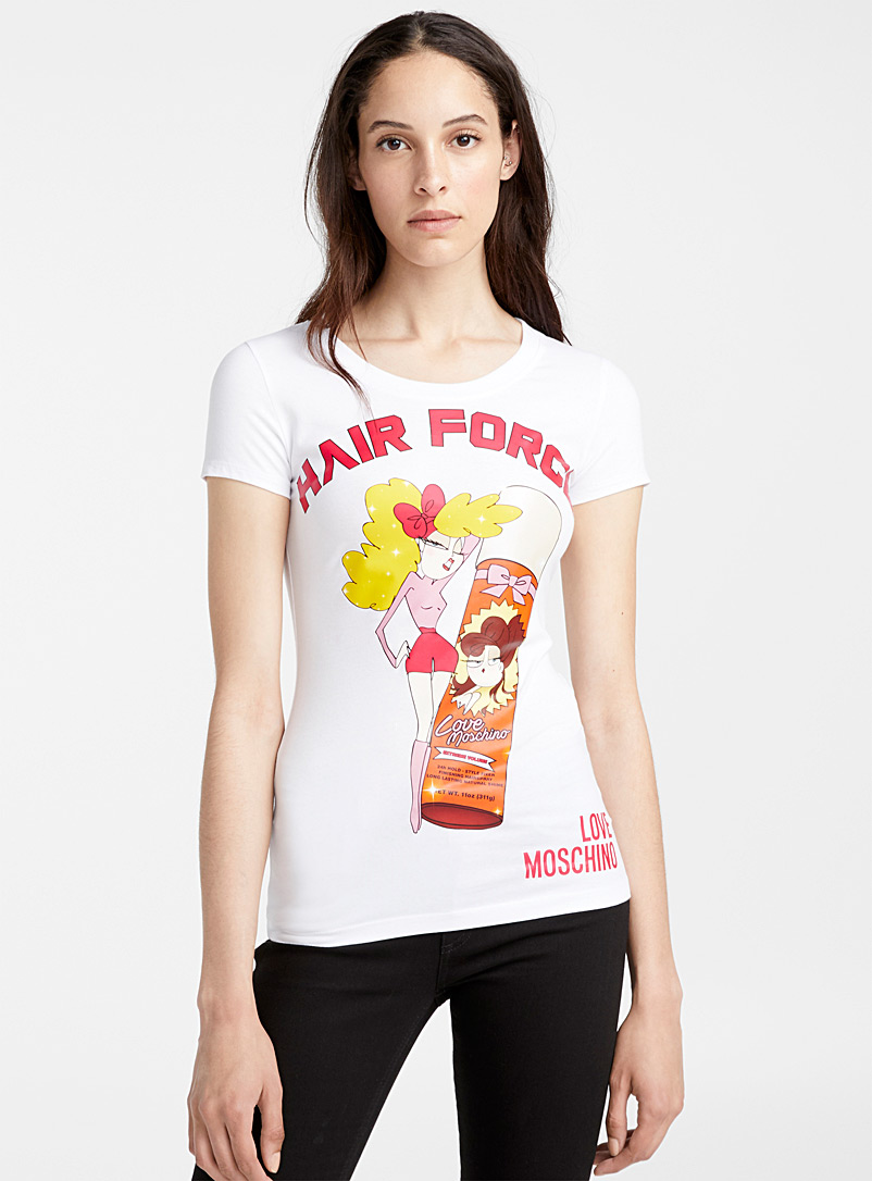 Hair Force tee - Love Moschino - Patterned White