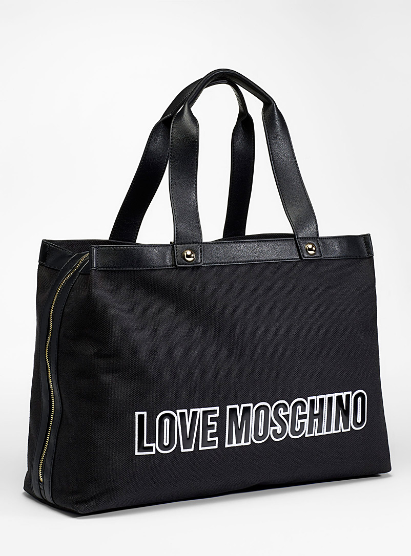 Love Moschino Black Large canvas tote for women