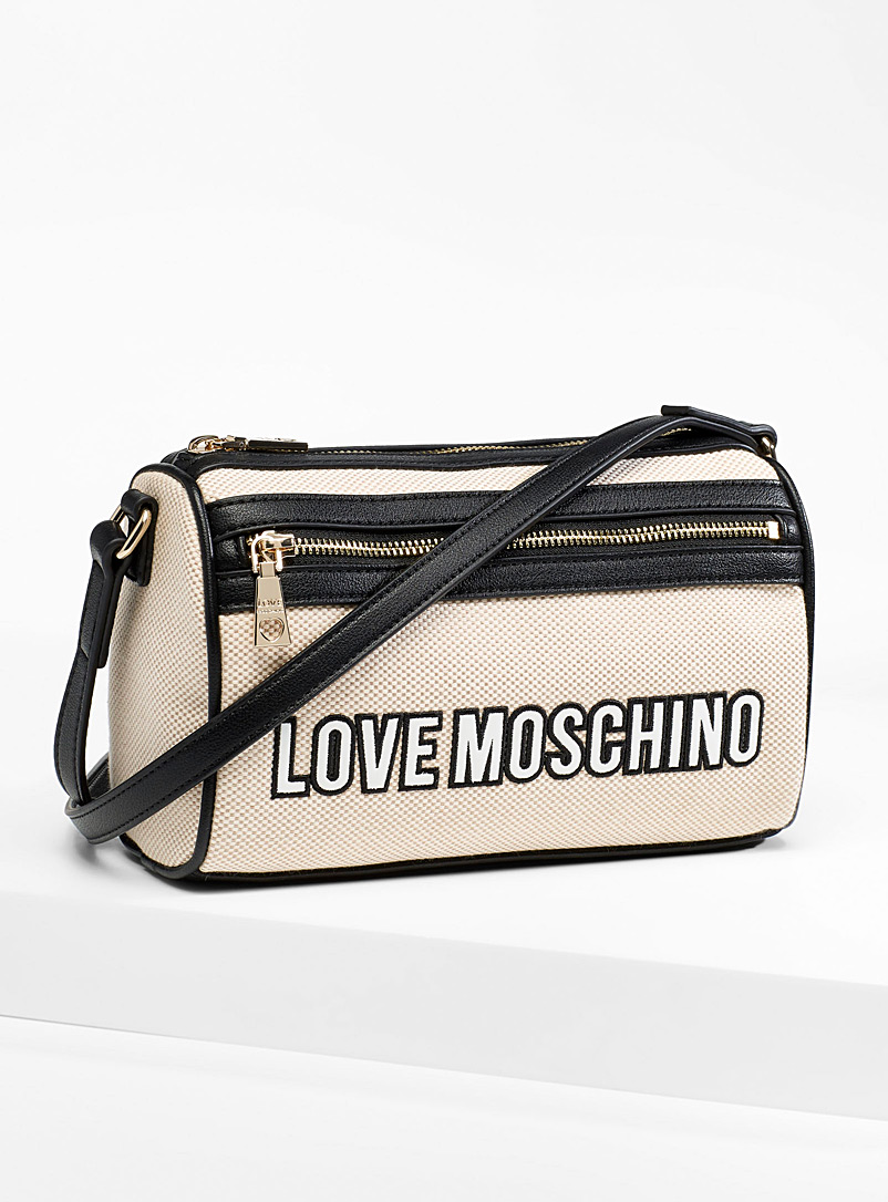 Love Moschino Cream Beige Embroidered canvas camera bag for women