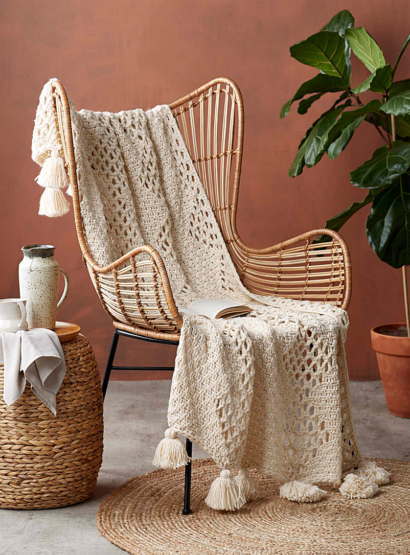 Tassel knit throw  50&quote; x 60&quote; - Throws - Cream Beige