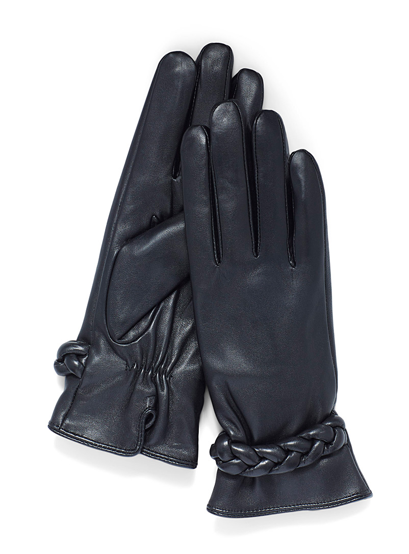 Simons Black Braided band leather gloves for women
