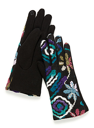 Blue floral techno gloves