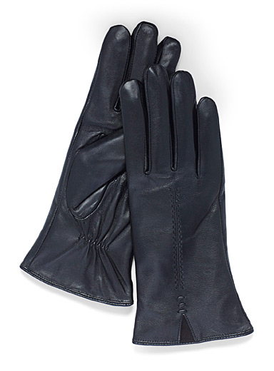 Simons Black Centre topstitch leather gloves for women